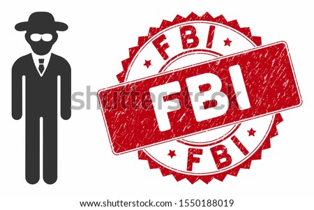 Vector security agent icon and grunge round stamp seal with FBI text. Flat security agent icon is isolated on a white background. FBI stamp seal uses red color and dirty texture.
