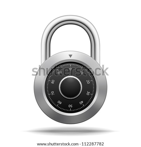 Vector Security Padlock. Chrome steel with dial isolated on white