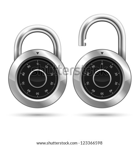 Vector Security Padlock Icon isolated on white - stock vector