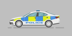 Vector sedan. English police car. Cartoon flat illustration, auto for graphic and web design. Side view.