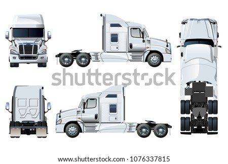 vector semi truck template