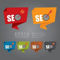 Vector : SEO With Dart Hitting a Target Bullseye Paper Origami Speech Bubble or Speech Balloon Infographics Sticker, Label, Sign or Icon