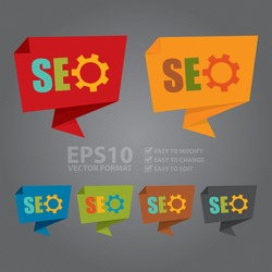 Vector : SEO With Gear Paper Origami Speech Bubble or Speech Balloon Infographics Sticker, Label, Sign or Icon