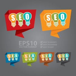 Vector : SEO With Light Bulb Paper Origami Speech Bubble or Speech Balloon Infographics Sticker, Label, Sign or Icon