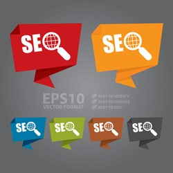 Vector : SEO With Magnifying Glass Paper Origami Speech Bubble or Speech Balloon Infographics Sticker, Label, Sign or Icon