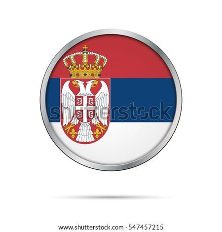 vector serbian flag button