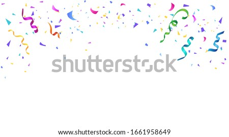 Vector serpentine, abstract background with many falling tiny colorful confetti pieces and ribbon. Carnival, Christmas or New Year decoration colorful party pennants for birthday celebration, festival