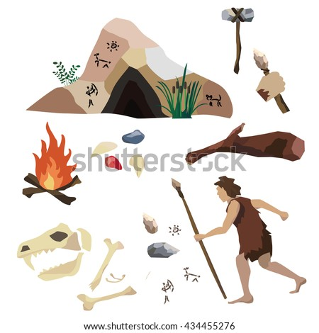 vector set about the stone age