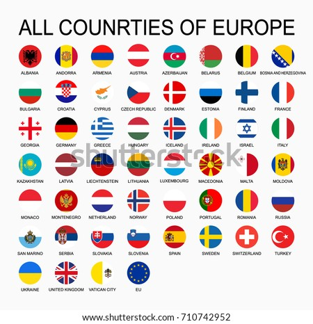 Vector set all flags of Europe, round shape.