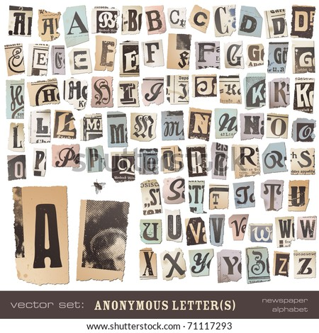 "vector set: alphabet based on vintage newspaper cutouts - ideal for your threatening letters, ransom notes or similar ... ""projects"" (all letters are grouped and highly detailed/textured)"