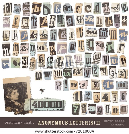 "vector set: alphabet based on vintage newspaper cutouts part 2 (lower cases and numbers) - ideal for your threatening letters, ransom notes or similar ... ""projects"""