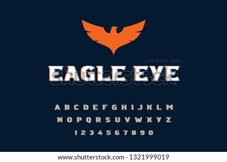 Vector set Alphabets. Fly English alphabet, vintage font on dark background, bold, eagle hand written capital ABC. Lowercase and uppercase letters, numbers and speed on dark background.