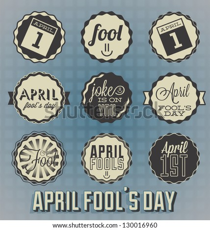 Vector Set: April Fool's Day Labels and Icons