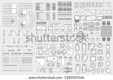 Vector set. Architectural elements and furniture for the floor plan. Top view. Ladders, doors, windows, wardrobes, trainers, tables, baths, toilet bowls, urinals. View from above.
