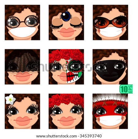 8f0afb0fd1 vector Set avatars icons smiley ClipArt Girl faces wavy curly BROWN HAIR,  GRAY EYES Emotions