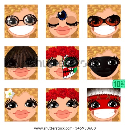 568515d3ef vector Set avatars icons smiley ClipArt Girl faces wavy curly dirty BLONDE  HAIR, GRAY EYES