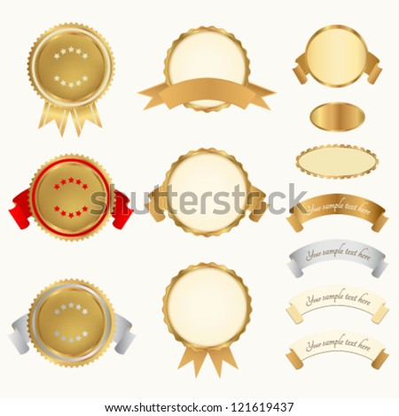 Vector set Awards Usable for certificate diploma or different awards Golden medals with red ribbons sign of winner Vector badge of First Second Third place