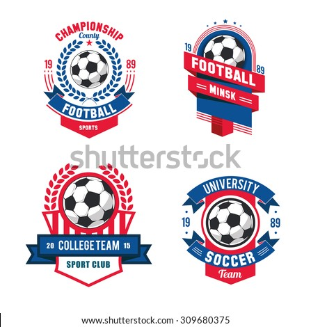 vector Set Badges logos red for football teams and tournaments, championships soccer. isolated on white Background