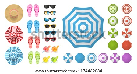 vector set beach elements and