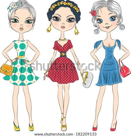 vector set beautiful fashion