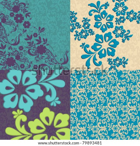 Vector set beautiful floral background illustrations