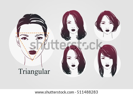 30f2d28260 Vector set beautiful women icon portraits with different haircut and  triangular type faces. Hand drawn