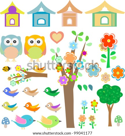 vector set birds with birdhouses, owls, trees and flowers