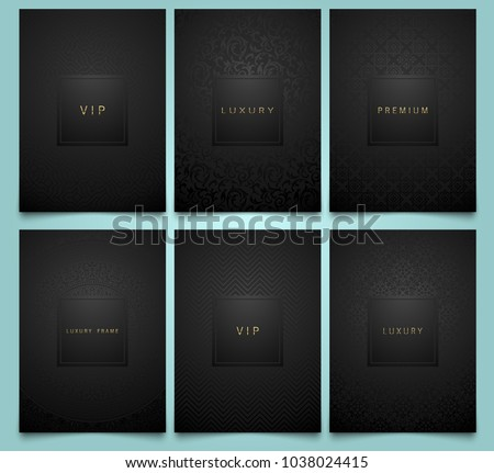 Vector set black packaging templates with brilliant linear geometric and floral damask pattern texture for luxury product. Trendy design for logo. Premium style brochure