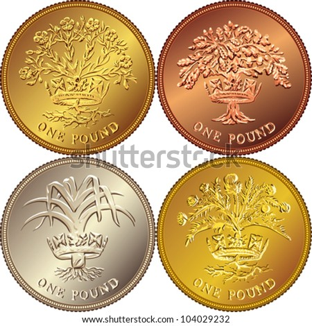 vector set British money gold coin one pound: Thistle and royal diadem representing Scotland, Leek and diadem - Wales, Flax Plant and diadem, Oak Tree and diadem - Northern Ireland