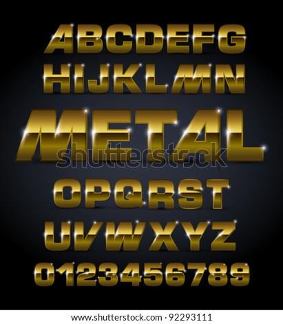 vector set bronze metallic fonts
