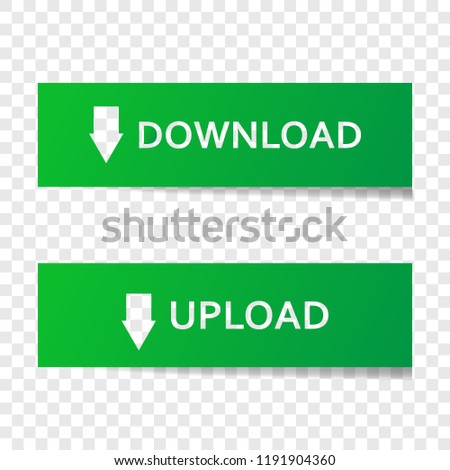 Vector set button download and upload. Illustration button on green color. Layers grouped for easy editing illustration. For your design.