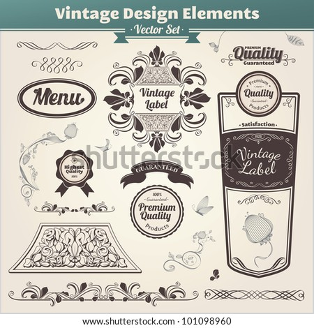 Vector set. Calligraphic design. Elements and page decoration. - stock vector