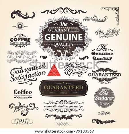 vector set: calligraphic design elements and page decoration, Genuine Premium Quality and Satisfaction Guarantee Label design collection - stock vector