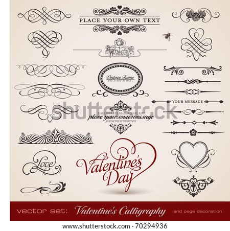 vector set: calligraphic design elements and page decoration - lots of useful elements to embellish your layout - stock vector