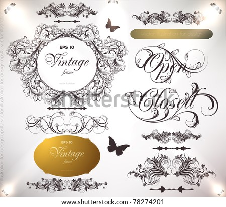 vector set: calligraphic design elements and page decoration - lots of useful elements to embellish your layout, detailed antique and baroque frames with retro flowers and floral borders. eps 10.