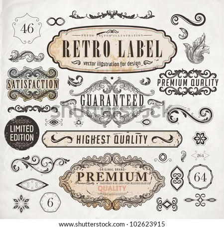 vector set: calligraphic design elements and page decoration, Premium Quality and Satisfaction Guarantee Label collection with black grungy rust design