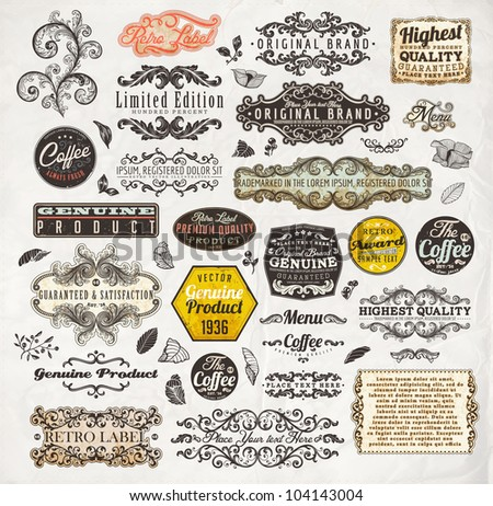 vector set: calligraphic design elements and page decoration, Premium Quality and Satisfaction Guarantee Label collection with vintage engraving flowers, leafs and berries for retro summer design. - stock vector