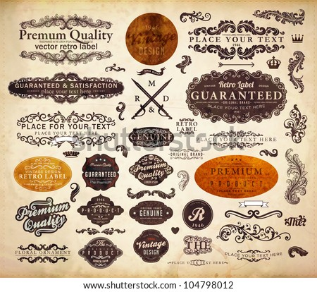 vector set: calligraphic design elements and page decoration, Premium Quality and Satisfaction Guarantee Label collection with black grungy design, old paper texture.