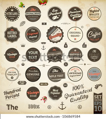 vector set: calligraphic design elements and page decoration, Premium Quality and Satisfaction Guarantee Label collection with black grungy design | Retro colors version