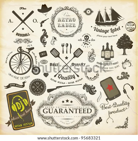 vector set: calligraphic design elements and page decoration, Premium Quality and Satisfaction Guarantee Label collection with retro signs: ship, bicycle, tree and flowers