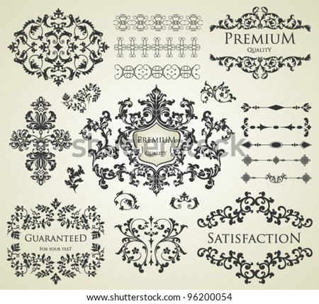 vector set: calligraphic design elements and page decoration, Premium Quality and Satisfaction Guarantee Label