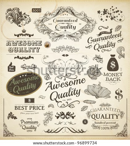 vector set: calligraphic design elements and page decoration, Premium Quality and Satisfaction Guarantee Label collection with vintage frames | Engraving flowers and leafs