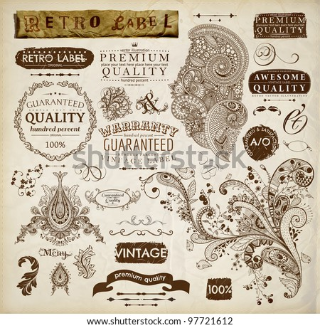 vector set: calligraphic design elements and page decoration, Premium Quality and Satisfaction Guarantee Label collection with vintage frames and detailed hand drawn ornaments with birds | Old paper