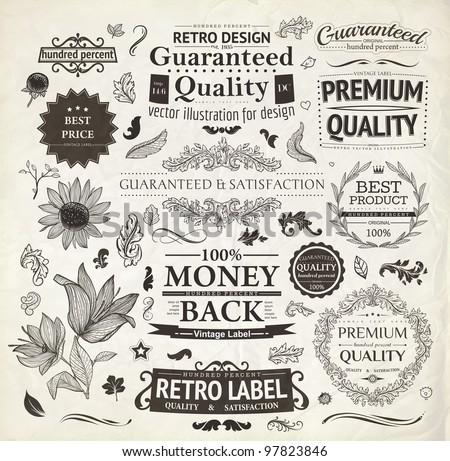 Vector Set Calligraphic Design Elements And Page Decoration Premium Quality Satisfaction Guarantee Label
