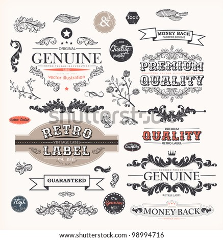 vector set: calligraphic design elements and page decoration, Premium Quality and Satisfaction Guarantee Label collection with vintage engraving flowers and leafs.