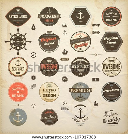 vector set: calligraphic design elements and page decoration, Premium Quality and Seafarer with Shipbuilder Label collection with black grungy design | Old paper texture