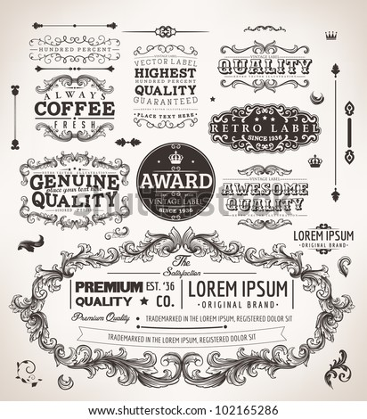 vector set: calligraphic design elements and page decoration, Premium Quality, Genuine and Satisfaction Guarantee Label collection | EPS10 vector