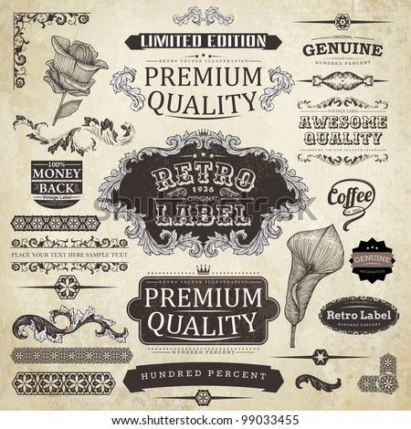 vector set: calligraphic design elements and page decoration, Premium Quality Label collection with black grungy design end engraving flowers - stock vector