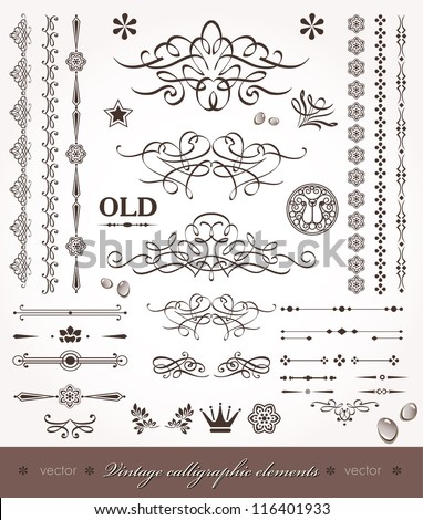 Vector set- calligraphic design elements and page decoration - set of elements for books- decorations_1
