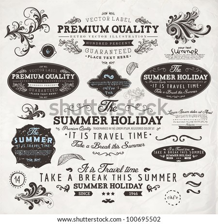 vector set: calligraphic design elements and page decoration, Summer Holiday and Travel Time Label collection with black grungy design for old style design
